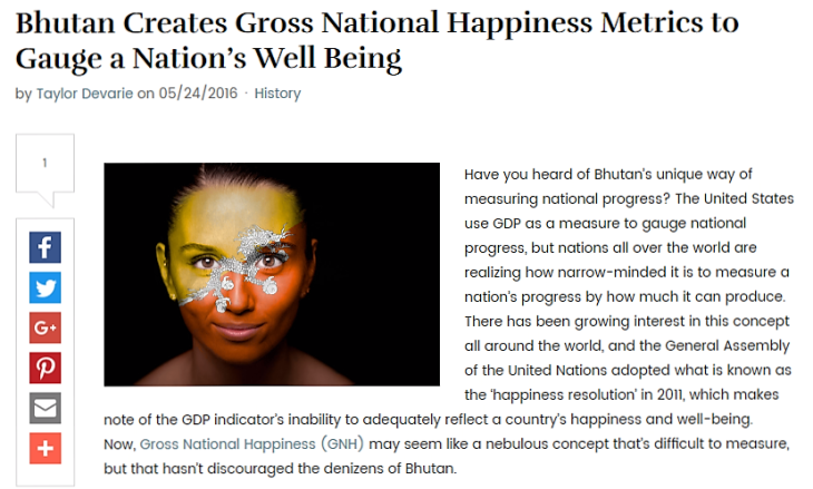 Bhutan Creates GNH Metrics to Gauge the Nation's Well Being