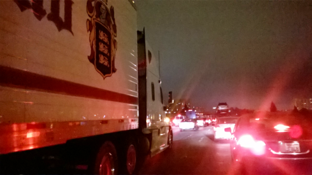 Sitting in heavy 880 South freeway traffic due to an unforeseen closure.