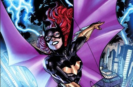 New 52 Batgirl flying through stormy city skyline via grappling hook